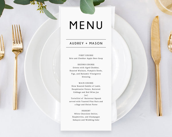 Wedding Menu Template, Printable Wedding Menu, Minimalist Wedding Menu, Simple Wedding Menu, DIY Menu, Instant Download, Templett, W25