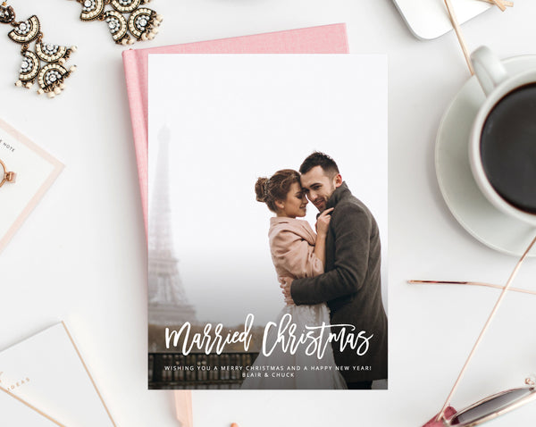 Newlywed Christmas Photo Card Template, Married Christmas Card, Printable First Christmas, Just Married, Instant Download, Templett, W01
