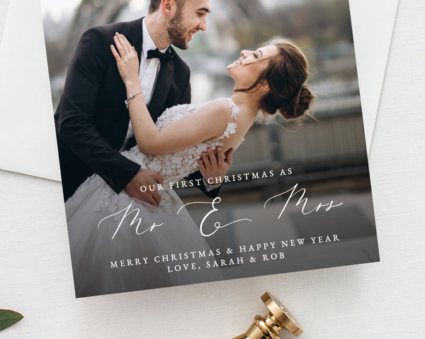 Newlywed Christmas Photo Card Template, Married Christmas Card, Printable First Christmas, Just Married, Instant Download, Templett