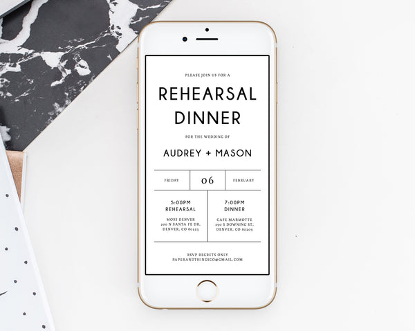 Rehearsal Dinner Invitation Template, Electronic Wedding Rehearsal Invitation, The Night Before Rehearsal Phone Invite, Templett, W25