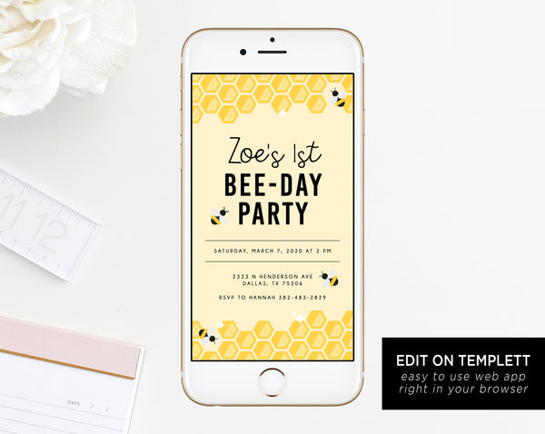 Bee Day Electronic Invitation Template Bumble Birthday Mobile Invite Honeycomb Phone