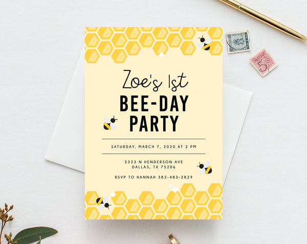 Bee Day Invite Template, Bumble Bee Birthday Invitation Template, Printable Bee Honeycomb Birthday Invitation, Instant Download, Templett