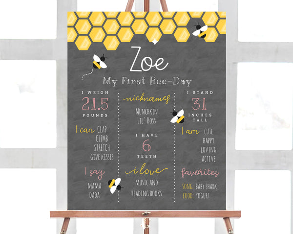 Printable Bee Day First Birthhday Chalkboard Sign Template, Bee Day 1st Birthday Milestone Chalkboard Poster, Editable Sign, Templett