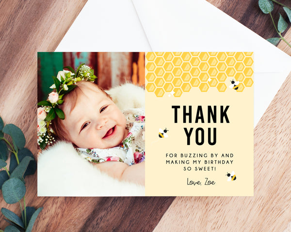 Bee Day Thank You Card Template, First Bee Day Thank You Photo Card, Bee Day Birthday Card, Instant Download, Templett
