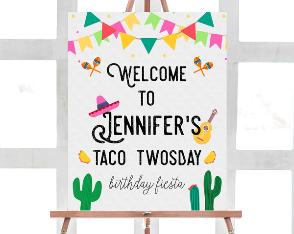 Taco Twosday Welcome Sign Template, Printable Fiesta Themed Party Welcome Sign, Taco Twosday Birthday Signs, Editable, Templett