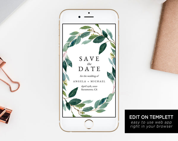 Greenery Electronic Save the Date Template, Mobile Save the Date, Phone Invite, Phone Save the Date, Editable Template, Templett W28