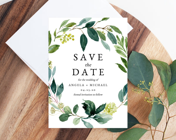 Greenery Save the Date Template, Printable Greenery Wedding Save the Date Card, Editable Save Our Date, Instant Download, Templett W28