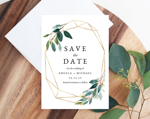 Greenery Save the Date Template, Printable Greenery Wedding Save the Date Card, Editable Save Our Date, Instant Download, Templett, W28
