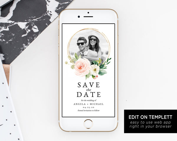 Blush Floral Electronic Save the Date Template, Mobile Save the Date with Picture, Phone Invite, Phone Photo Save the Date, Templett, W29