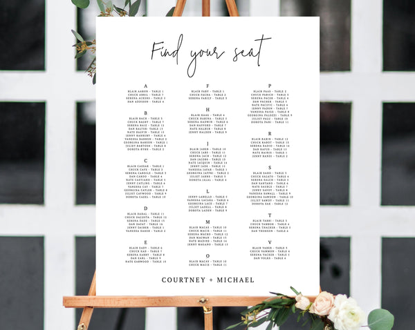 Alphabetical Wedding Seating Chart Template, Seating Chart Printable, Table Chart, Seating Board, Wedding Sign, Templett, W13