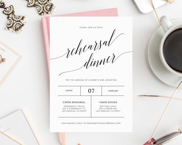 Rehearsal Dinner Invitation Template, Printable Wedding Rehearsal Invitation, Editable The Night Before Rehearsal Invite, Templett, W02