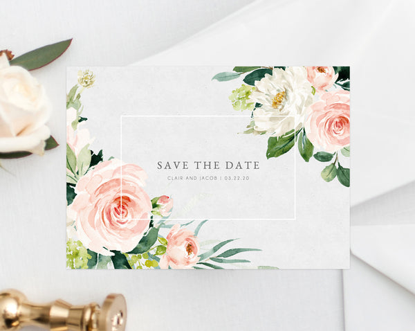 Blush Floral Save the Date Template, Printable Wedding Save the Date Card, Editable Save Our Date Template, Instant Download, Templett