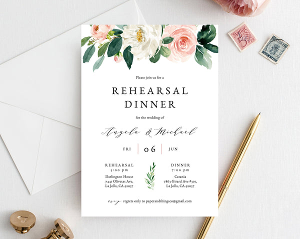Rehearsal Dinner Invitation Template, Blush Floral Wedding Rehearsal Invitation, Printable The Night Before Rehearsal Invite, Templett, W29
