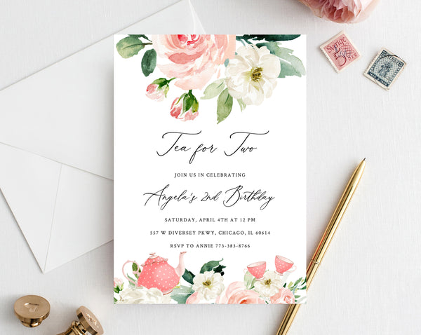 Tea For Two Birthday Invitation Template, Printable Tea Party Invitation, Gold and Pink Tea Party Birthday Invitation, Editable, Templett