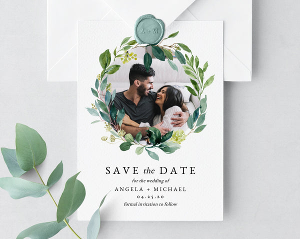 Greenery Save the Date Template, Printable Greenery Wedding Save the Date Card, Save Our Date Template, Instant Download, Templett, W28