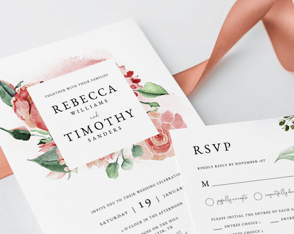 Wedding Invitation Template, Printable Wedding Invitation Suite, Watercolor Floral Wedding Invitation Set, Rose Greenery, Templett, W24