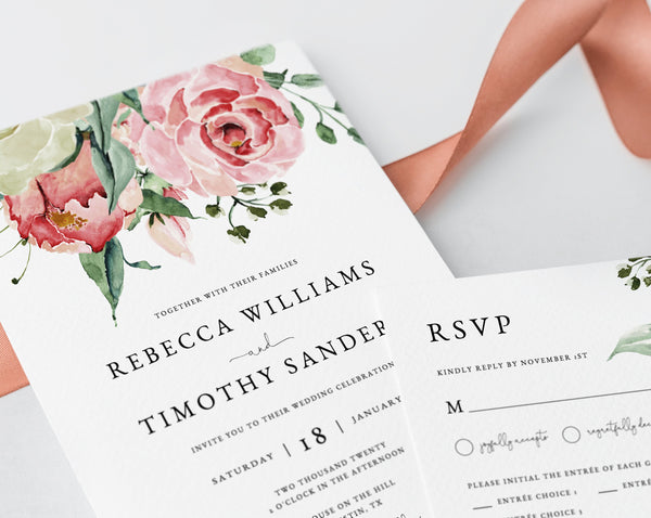 Wedding Invitation Template, Printable Wedding Invitation Suite, Watercolor Floral Wedding Invitation Set, Rose Greenery, Templett, W24B