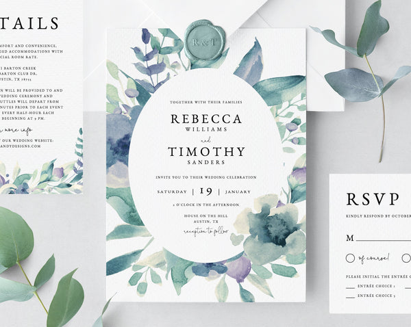 Wedding Invitation Template, Printable Wedding Invitation Suite, Watercolor Greenery Wedding Invitation, Green and Purple, Templett, W23