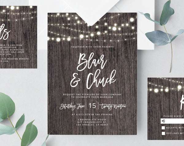 Wood Wedding Invitation Template, Rustic Printable Wedding Invitation, Invitation Suite, Wedding Invitation Set, Instant, Templett, W01