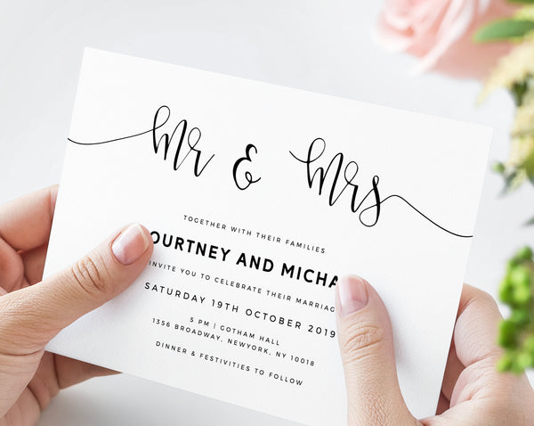 Mr & Mrs Wedding Invitation Template, Printable Wedding Invitation Suite, Modern Simple Wedding Invitation Set, Instant, Templett, W16