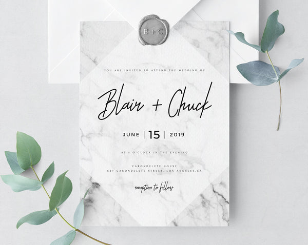 Marble Wedding Invitation Template, Printable Wedding Invitation Suite, Marble Wedding Invitation Set, Instant Download, Templett, W07