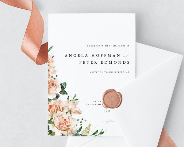 Wedding Invitation Template, Printable Wedding Invitation Suite, Blush Flowers Wedding Invitation Set, Floral Wedding, Templett, W22C