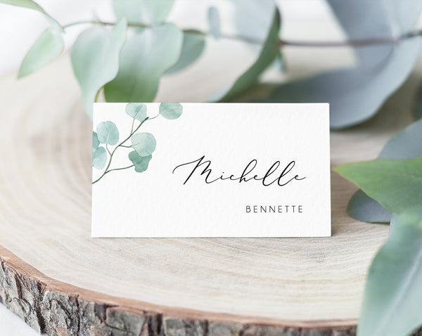 Greenery Wedding Place Cards Template, Eucalyptus Wedding Seating Card, Printable Wedding Table Cards, Instant Download,  Templett, W21