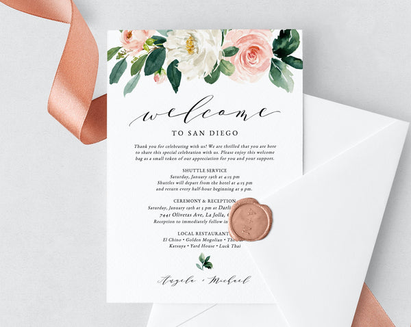 Blush Welcome Letter Template, Wedding Itinerary Card, Welcome Bag Letter,  Wedding Agenda, Printable Hotel Welcome Note, Templett, W29