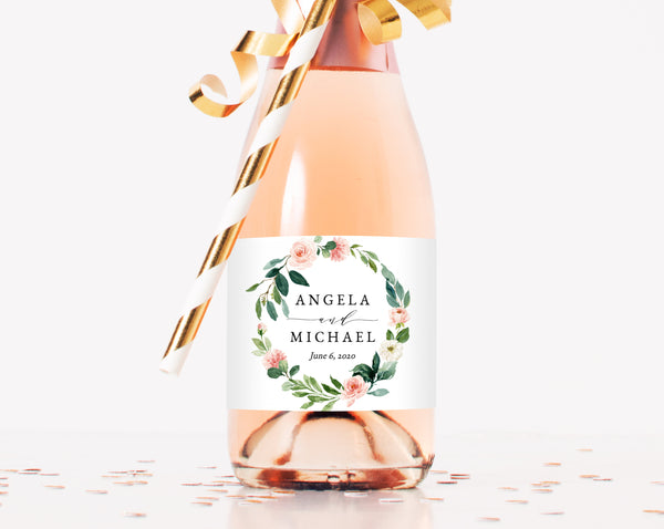 Mini Champagne Bottle Label Template, Blush Floral Wedding Mini Champagne Sticker, W29 | Instant Download Editable Template, Templett