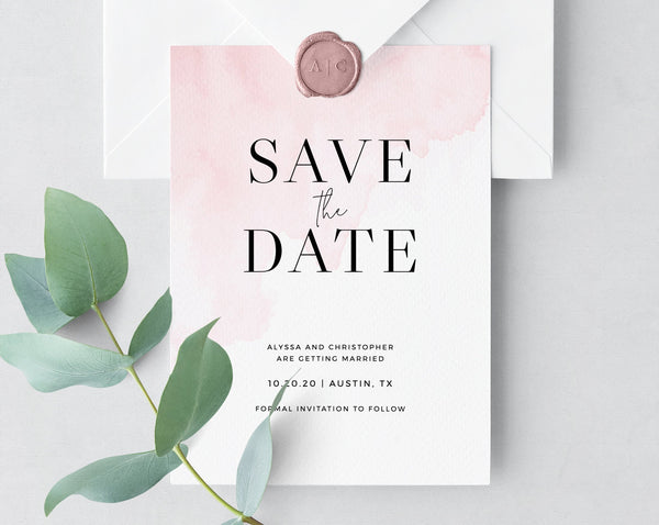 Save the Date Template, Blush Save the Date Printable, Pink Watercolor Save the Date, Simple Invitation Template, Templett, W14, W17