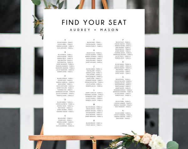 Wedding Seating Chart, Alphabetical Seating Chart Printable, Seating Chart Template, Seating Board, Instant Download, Templett, W25
