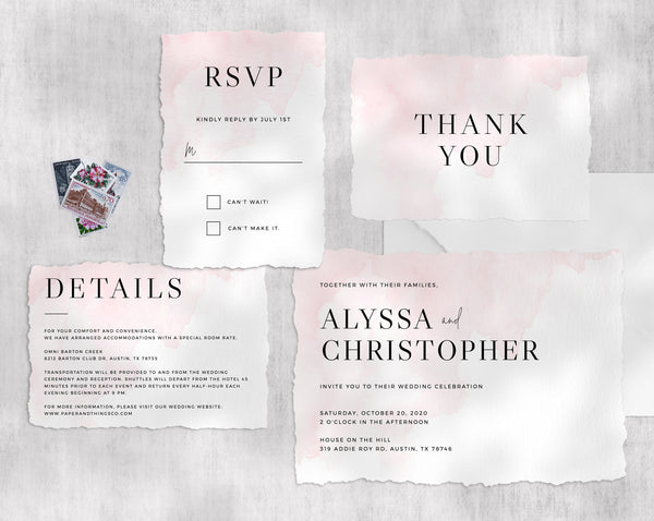 Wedding Invitation Template, Printable Wedding Invitation Set, Blush Watercolor Wedding Invitation Suite, Instant Download, Templett, W17