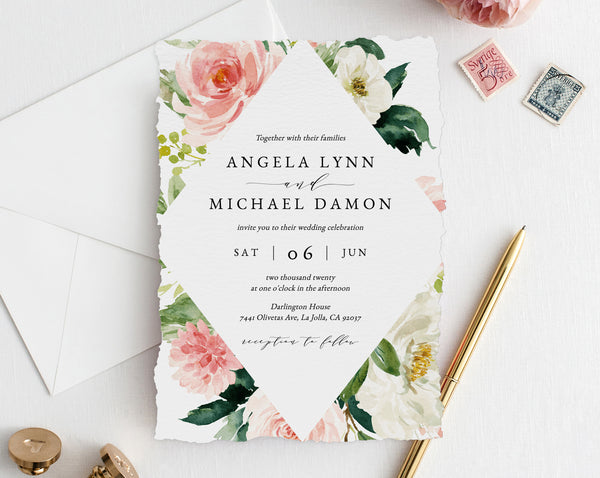 Wedding Invitation Template, Printable Wedding Invitation Suite, Blush Flowers Wedding Invitation Set, Floral Wedding, Templett, W29D
