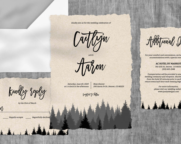 Forest Wedding Invitation Template, Woods Wedding Invitation Suite, Pine Trees Wedding Invitation Set, Instant Download, Templett, W09