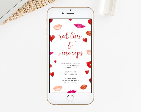 Electronic Bachelorette Invitation Template, Mobile Bachelorette Invite, Red Lips and Wine Sips Phone Invite, Instant Download, Templett