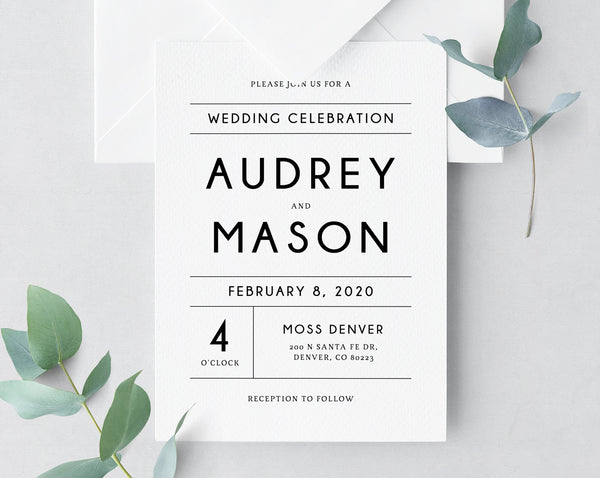 INSTANT DOWNLOAD Wedding Invitation Template Printable Suite Modern Simple Set Templett W25