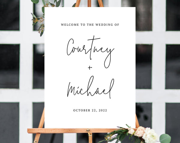Wedding Welcome Sign Template, Welcome to the Wedding Printable, Welcome Board, Simple Wedding Sign, Instant Download, Templett, W13