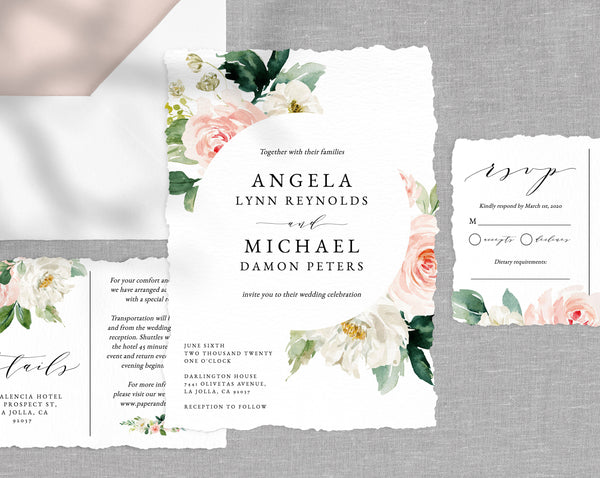 Wedding Invitation Template, Printable Wedding Invitation Suite, Blush Flowers Wedding Invitation Set, Floral Wedding, Templett, W29E