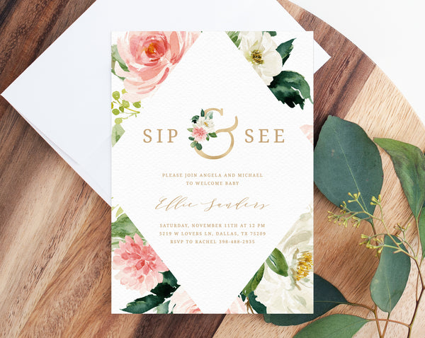 Editable Sip & See Invitation Template, Printable Floral Sip and See Invitation, Welcome Baby Invitation, Blush Flowers, Templett
