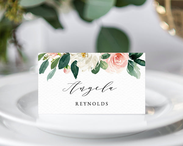 Blush Wedding Place Cards Template, Seating Card, Floral Wedding Table Cards, Printable Wedding Tent Cards, Instant Download, Templett, W29
