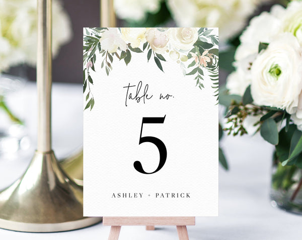 Wedding Table Number Template, Printable Wedding Table Numbers, Floral Table Numbers Card Template, Greenery, Templett, W19