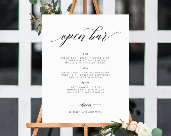 Wedding Open Bar Sign Template, Wedding Open Bar Printable, Drink Menu Sign, Drinks Sign, Reception Decor, Instant Download, Templett, W02