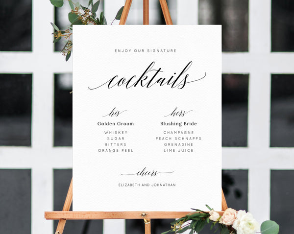 Wedding Signature Cocktails Sign Template, Editable His and Hers Signature Drinks Menu Sign, Wedding Bar, Instant Download, Templett, W02