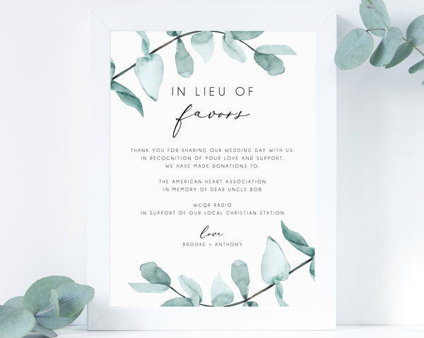 In Lieu of Favors Sign Template, Greenery In Lieu of Favors Sign, Editable In Lieu of Favors Sign, Wedding Donation Sign, Templett, W21