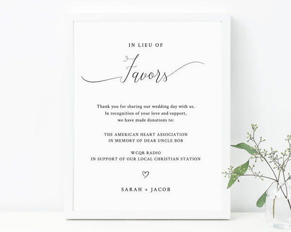 Editable In Lieu of Favors Sign Printable In Lieu of Favors Sign In Lieu of Favors Sign Template PDF Instant Download White Roses Green