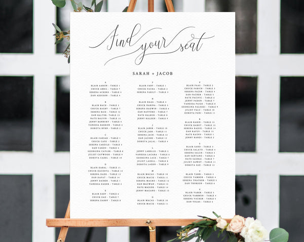 Alphabetical Wedding Seating Chart Template, Seating Chart Printable, Table Chart, Seating Board, Wedding Sign, Templett, W31