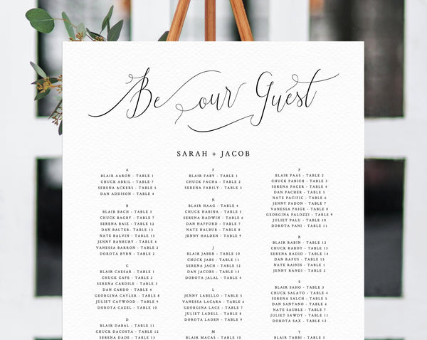 Be Our Guest Wedding Seating Chart Template, Table Chart Printable, Alphabetical Seating Chart Board, Wedding Sign, Templett, W31