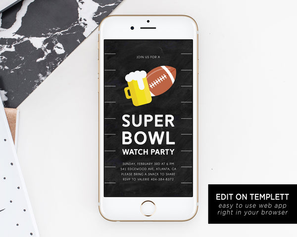 Super Bowl Watch Party Electronic Invitation Template, Mobile Super Bowl Party Invite, Football Watch Party Phone Invitation, Templett