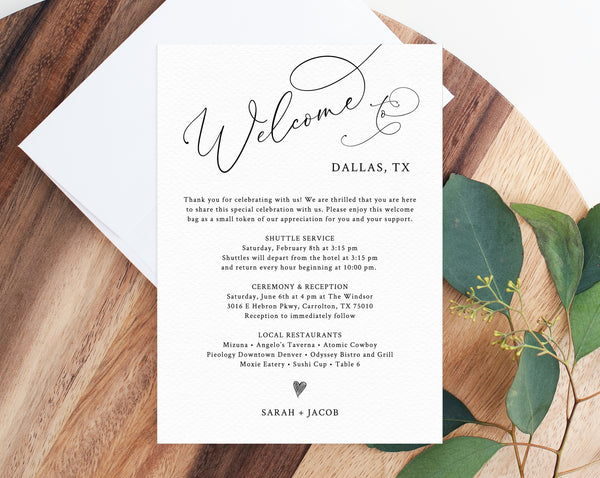 Welcome Letter Template, Wedding Itinerary Card, Welcome Bag Letter, Wedding Agenda, Printable Hotel Welcome Note, Templett, W30