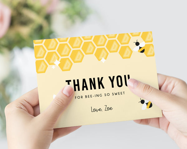 Bee-Day Thank You Card Template, Printable Bee-Day Birthday Thank You Card, Bee Day Birthday Digital File, Instant Download, Templett